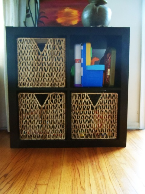 organize children's toys and books with baskets