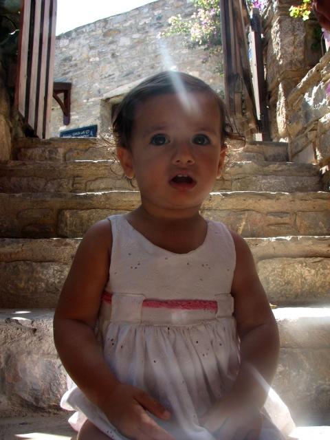 toddler on steps