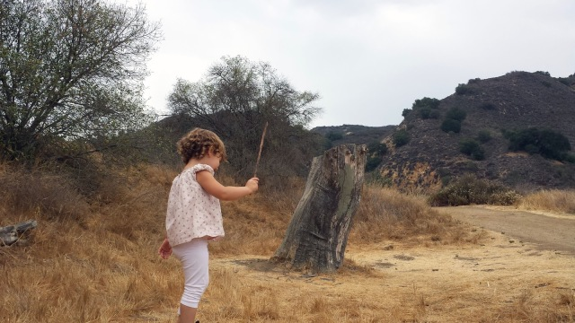 Toddler hiking Malibu Creek Trail