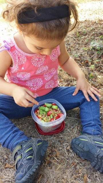 Toddler eating Wheat Berry Salad
