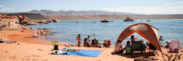 Family Camping at Sand Hollow State Park, Hurricane, Utah